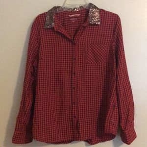 Red Merona Plaid With sequin Collar